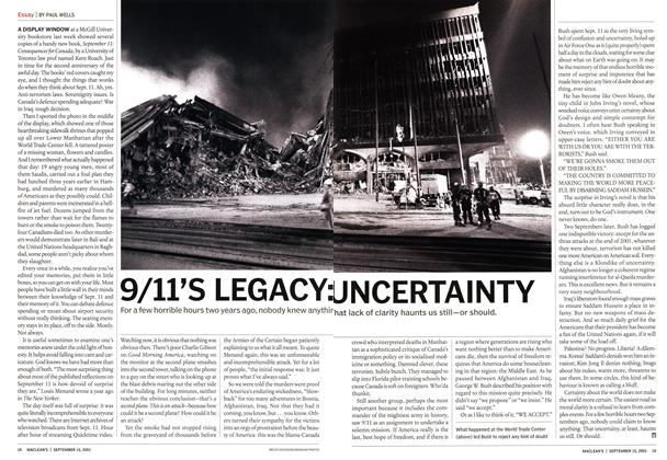 Article Preview: 9/ll'S LEGACY: UNCERTAINTY, September 2003 | Maclean's