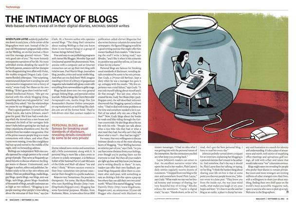 Article Preview: THE INTIMACY OF BLOGS, September 2003 | Maclean's