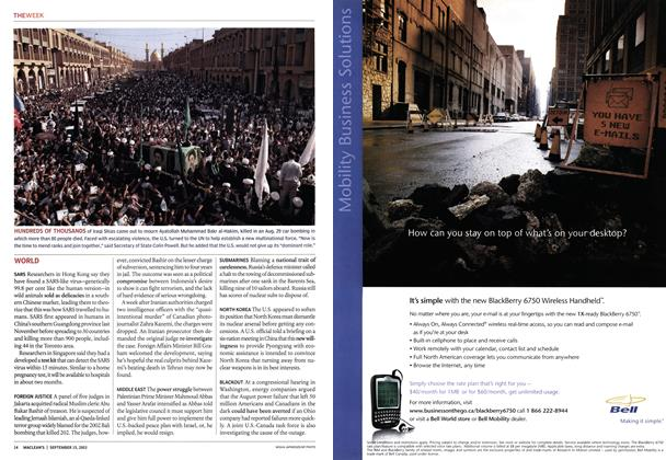 Article Preview: HUNDREDS OF THOUSANDS, September 2003 | Maclean's