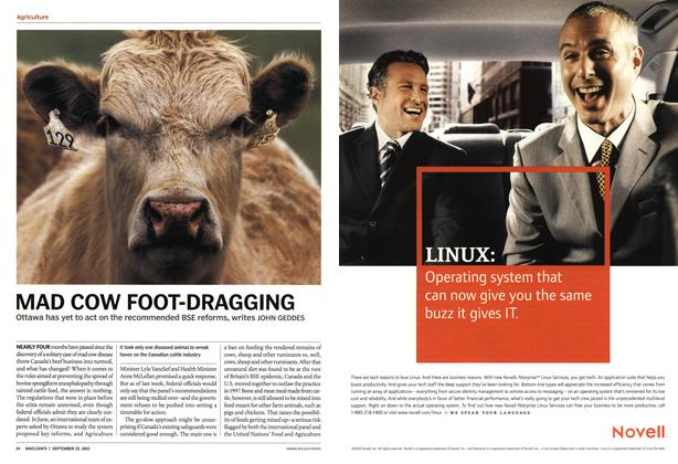Article Preview: MAD COW FOOT-DRAGGING, September 2003 | Maclean's