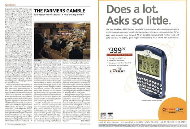 Article Preview: THE FARMERS GAMBLE, September 2003 | Maclean's