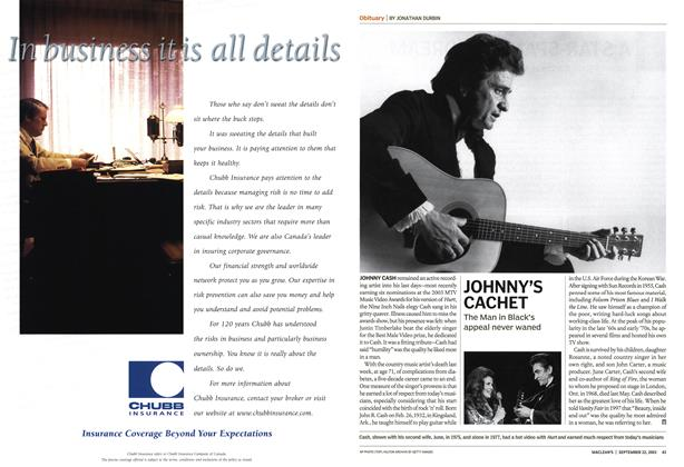 Article Preview: JOHNNY'S CACHET, September 2003 | Maclean's