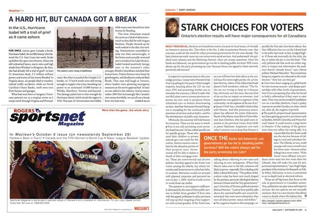 Article Preview: STARK CHOICES FOR VOTERS, September 2003 | Maclean's