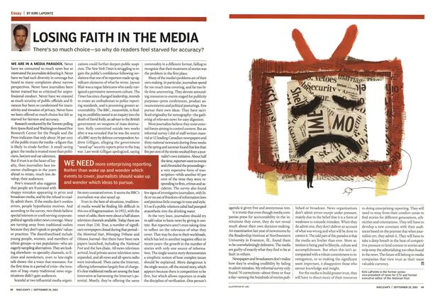 Article Preview: LOSING FAITH IN THE MEDIA, September 2003 | Maclean's