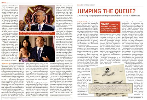 Article Preview: JUMPING THE QUEUE?, October 2003 | Maclean's