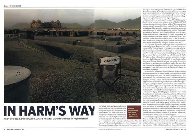 Article Preview: IN HARM'S WAY, October 2003 | Maclean's