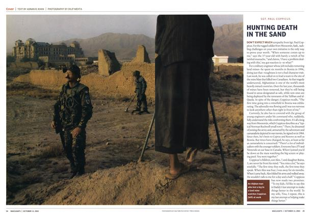 Article Preview: HUNTING DEATH IN THE SAND, October 2003 | Maclean's