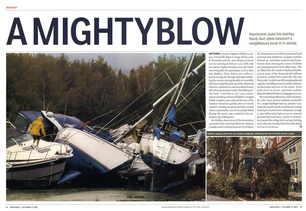 Article Preview: A MIGHTY BLOW, October 2003 | Maclean's