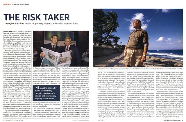 Article Preview: THE RISK TAKER, October 2003 | Maclean's