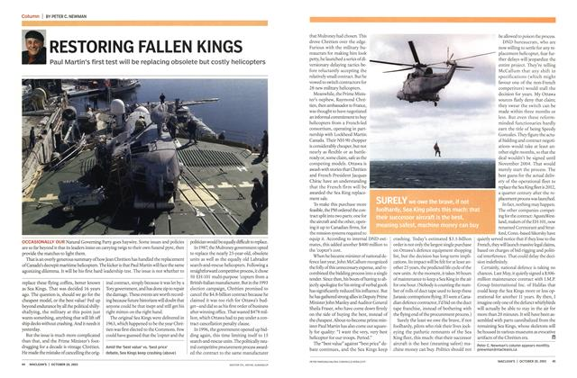 Article Preview: RESTORING FALLEN KINGS, October 2003 | Maclean's