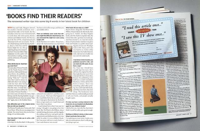 Article Preview: 'BOOKS FIND THEIR READERS', October 2003 | Maclean's