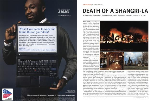 Article Preview: DEATH OF A SHANGRI-LA, October 2003 | Maclean's