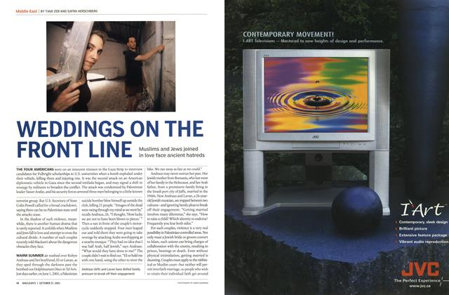 Article Preview: WEDDINGS ON THE FRONT LINE, October 2003 | Maclean's