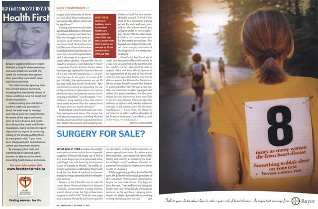 Article Preview: SURGERY FOR SALE?, October 2003 | Maclean's