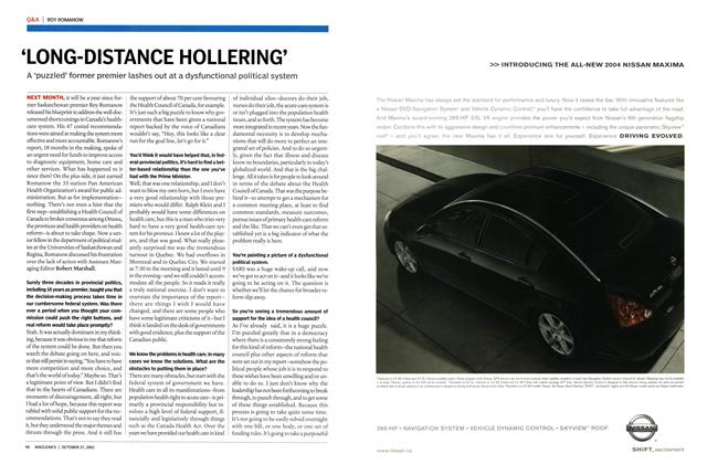 Article Preview: 'LONG-DISTANCE HOLLERING', October 2003 | Maclean's