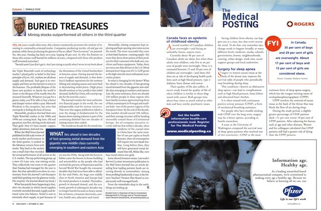 Article Preview: BURIED TREASURES, October 2003 | Maclean's