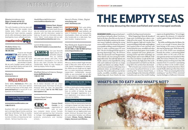 Article Preview: THE EMPTY SEAS, November 2003 | Maclean's