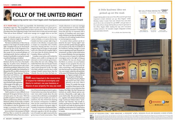 Article Preview: FOLLY OF THE UNITED RIGHT, November 2003 | Maclean's