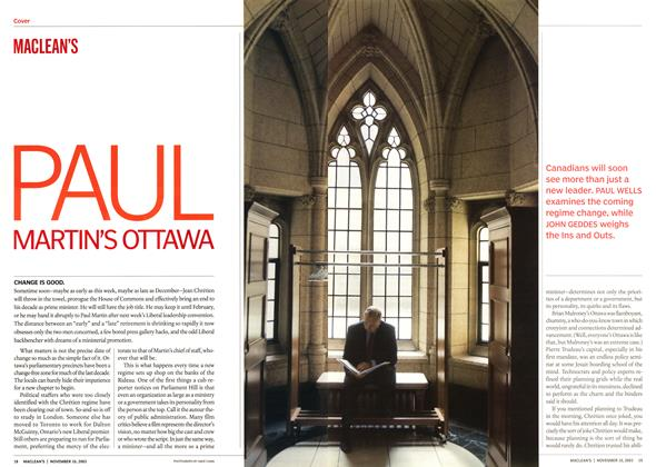 Article Preview: PAUL MARTIN'S OTTAWA, November 2003 | Maclean's