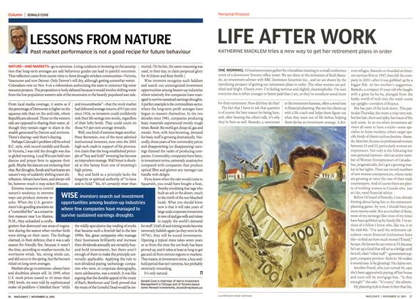 Article Preview: LIFE AFTER WORK, November 2003 | Maclean's