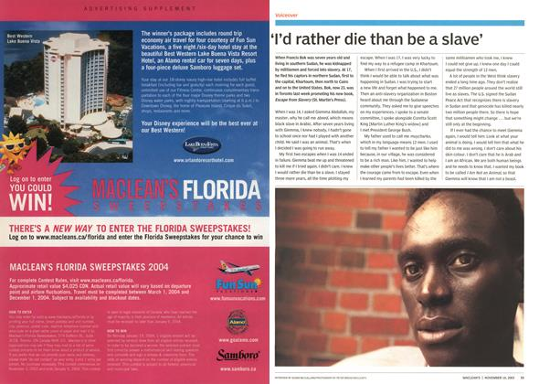 Article Preview: I'd rather die than be a slave', November 2003 | Maclean's