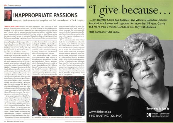 Article Preview: INAPPROPRIATE PASSIONS, November 2003 | Maclean's