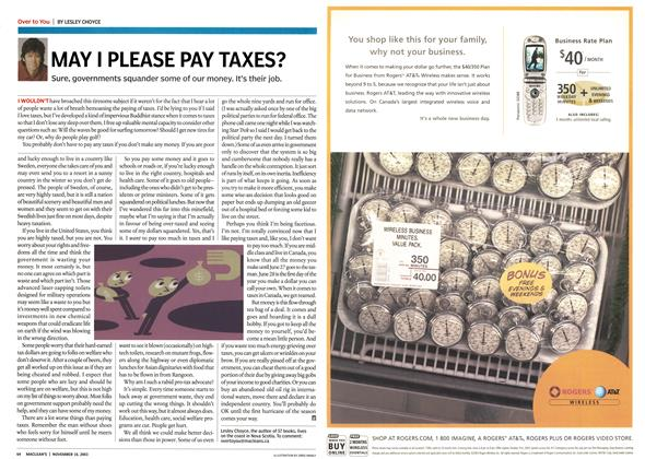 Article Preview: MAY I PLEASE PAY TAXES?, November 2003 | Maclean's