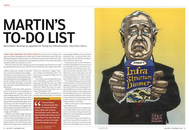 Article Preview: MARTIN'S TO-DO LIST, November 2003 | Maclean's