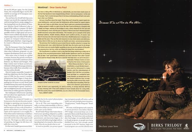 Article Preview: Montreal I Dear Santa Paul, November 2003 | Maclean's