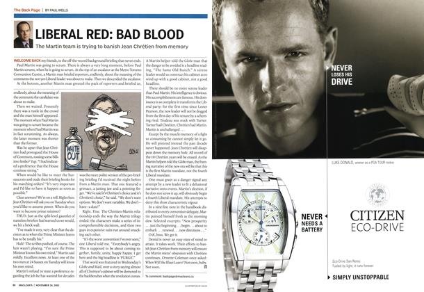 Article Preview: LIBERAL RED: BAD BLOOD, November 2003 | Maclean's