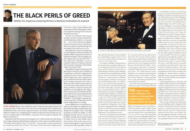 Article Preview: THE BLACK PERILS OF GREED, December 2003 | Maclean's