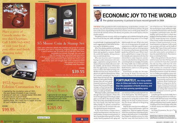 Article Preview: ECONOMIC JOY TO THE WORLD, December 2003 | Maclean's