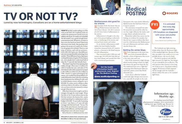 Article Preview: TV OR NOT TV?, December 2003 | Maclean's