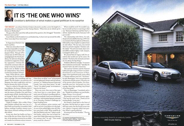 Article Preview: IT IS 'THE ONE WHO WINS', December 2003 | Maclean's
