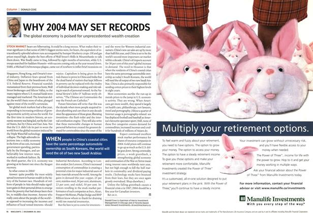 Article Preview: WHY 2004 MAY SET RECORDS, December 2003 | Maclean's