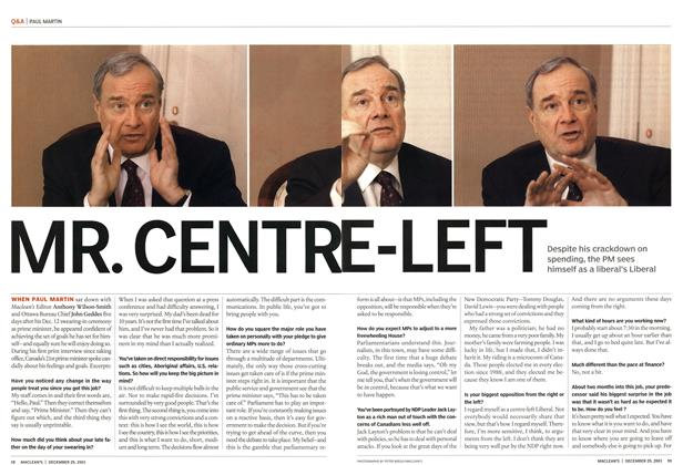 Article Preview: MR. CENTR E-LEFT, December 2003 | Maclean's
