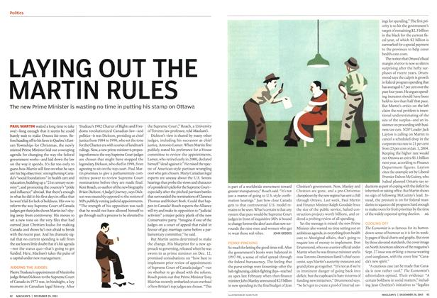 Article Preview: LAYING OUT THE MARTIN RULES, December 2003 | Maclean's