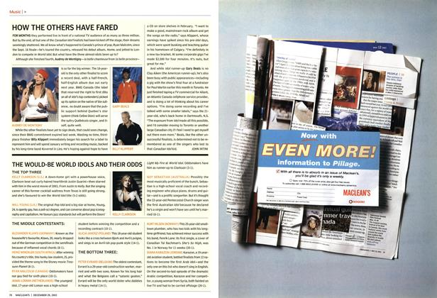 Article Preview: THE WOULD-BE WORLD IDOLS AND THEIR ODDS, December 2003   Maclean's