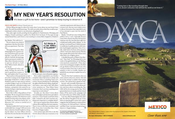 Article Preview: MY NEW YEAR'S RESOLUTION, December 2003 | Maclean's
