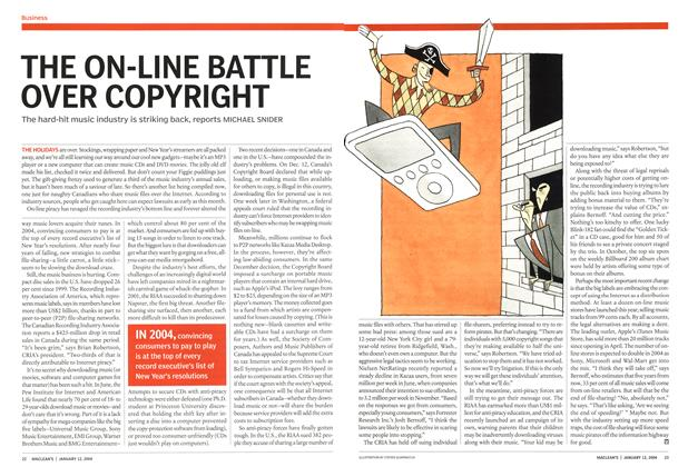 Article Preview: THE ON-LINE BATTLE OVER COPYRIGHT, January 2004 | Maclean's