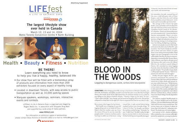 Article Preview: BLOOD IN THE WOODS, January 2004 | Maclean's