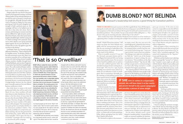 Article Preview: DUMB BLOND? NOT BELINDA, February 2004 | Maclean's