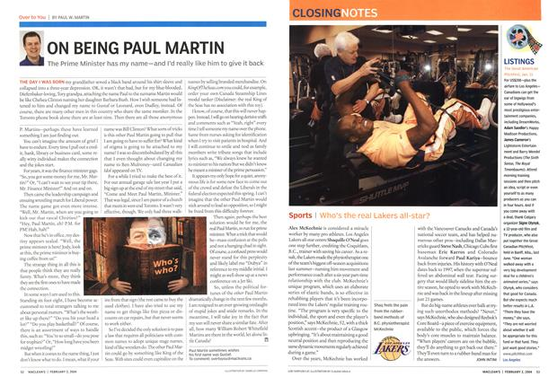 Article Preview: Sports I Who's the real Lakers all-star?, February 2004 | Maclean's