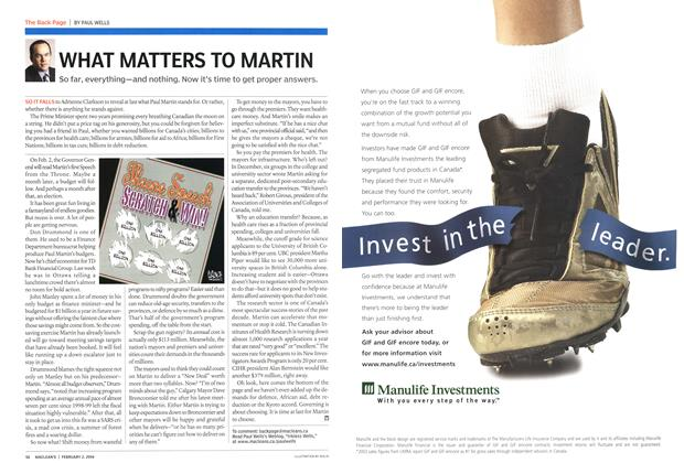 Article Preview: WHAT MATTERS TO MARTIN, February 2004 | Maclean's