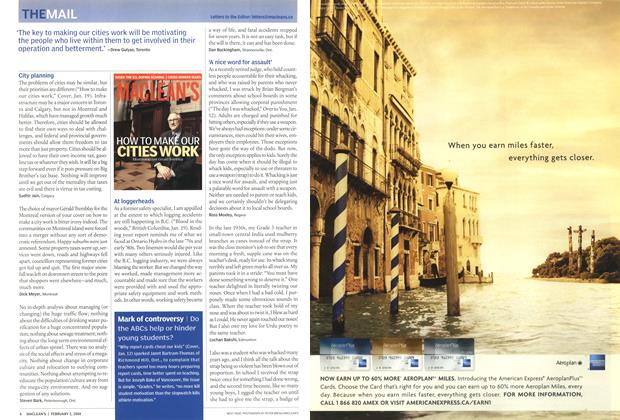 Article Preview: 'The key to making our cities work will be motivating the people who live within them to get involved in their operation and betterment.' -Drew cuiyas, Toronto, February 2004 | Maclean's