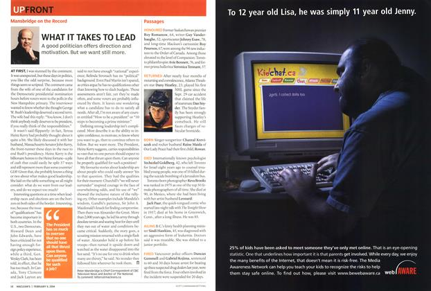 Article Preview: Advertisement, February 2004 | Maclean's