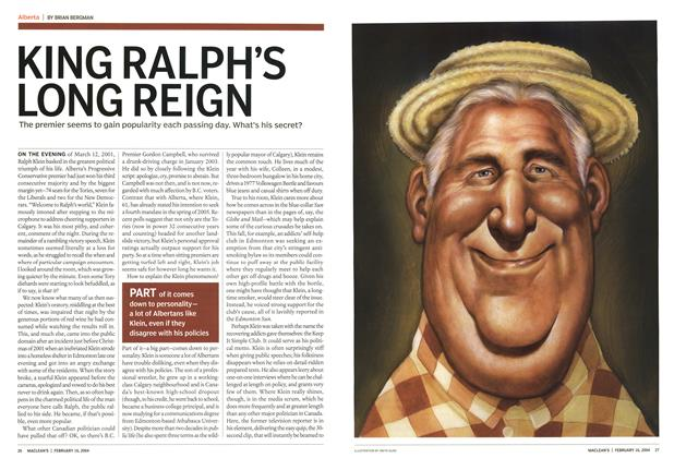 Article Preview: KING RALPH'S LONG REIGN, February 2004 | Maclean's