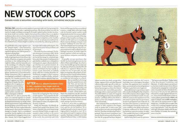 Article Preview: NEW STOCK COPS, February 2004 | Maclean's