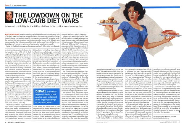 Article Preview: THE LOWDOWN ON THE LOW-CARB DIET WARS, February 2004 | Maclean's