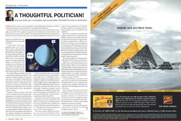 Article Preview: A THOUGHTFUL POLITICIAN!, March 2004 | Maclean's